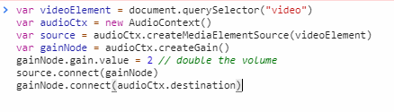 The code, as it will appear in the console.